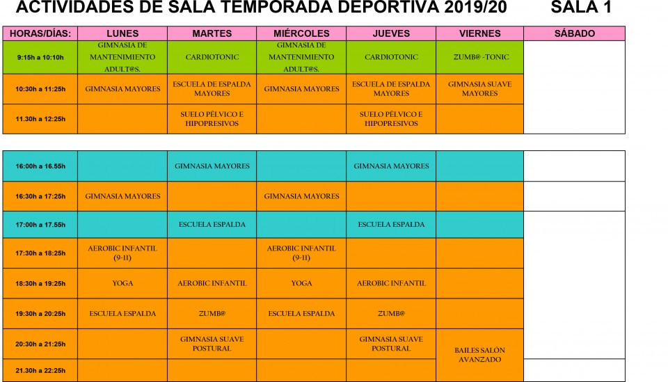 Actividades de Sala temporada deportiva 2019/2020